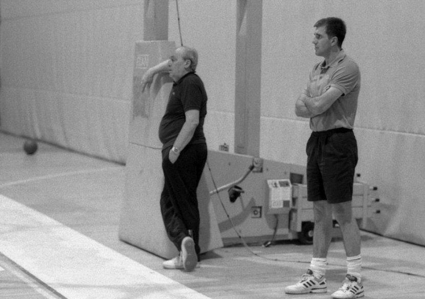 Aleksandar Nikolić i Željko Obradović na treningu Partizana 1991.
