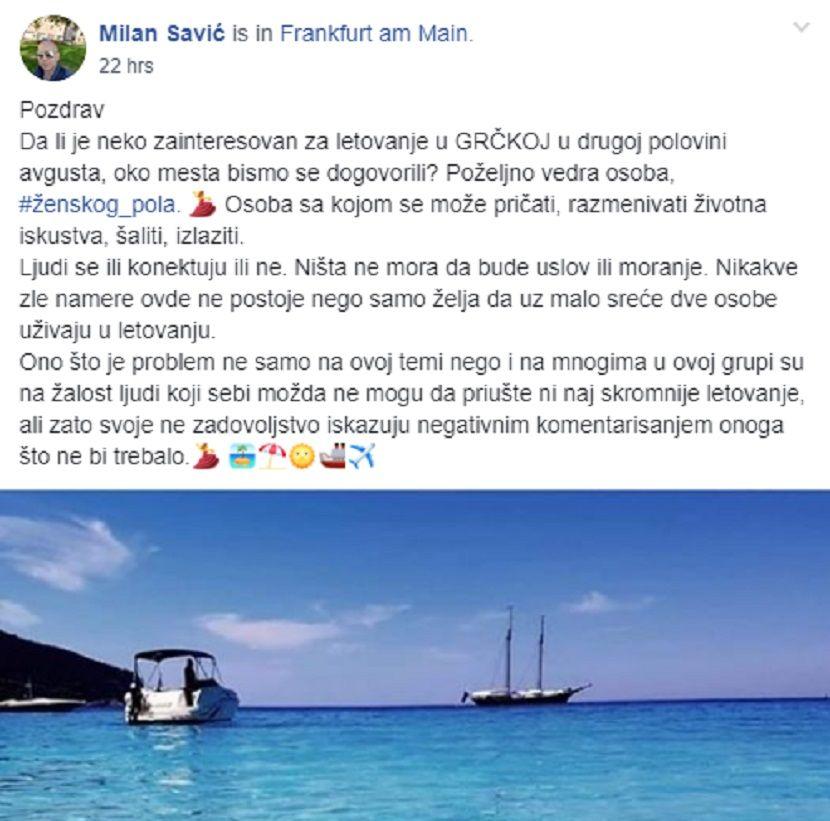 Milan Savić, letovanje, Grčka