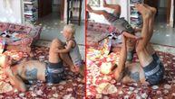 Beba rođeni gimnastičar! Pravi salto kao šampion, a tek šta radi na tatinim nogama (VIDEO)