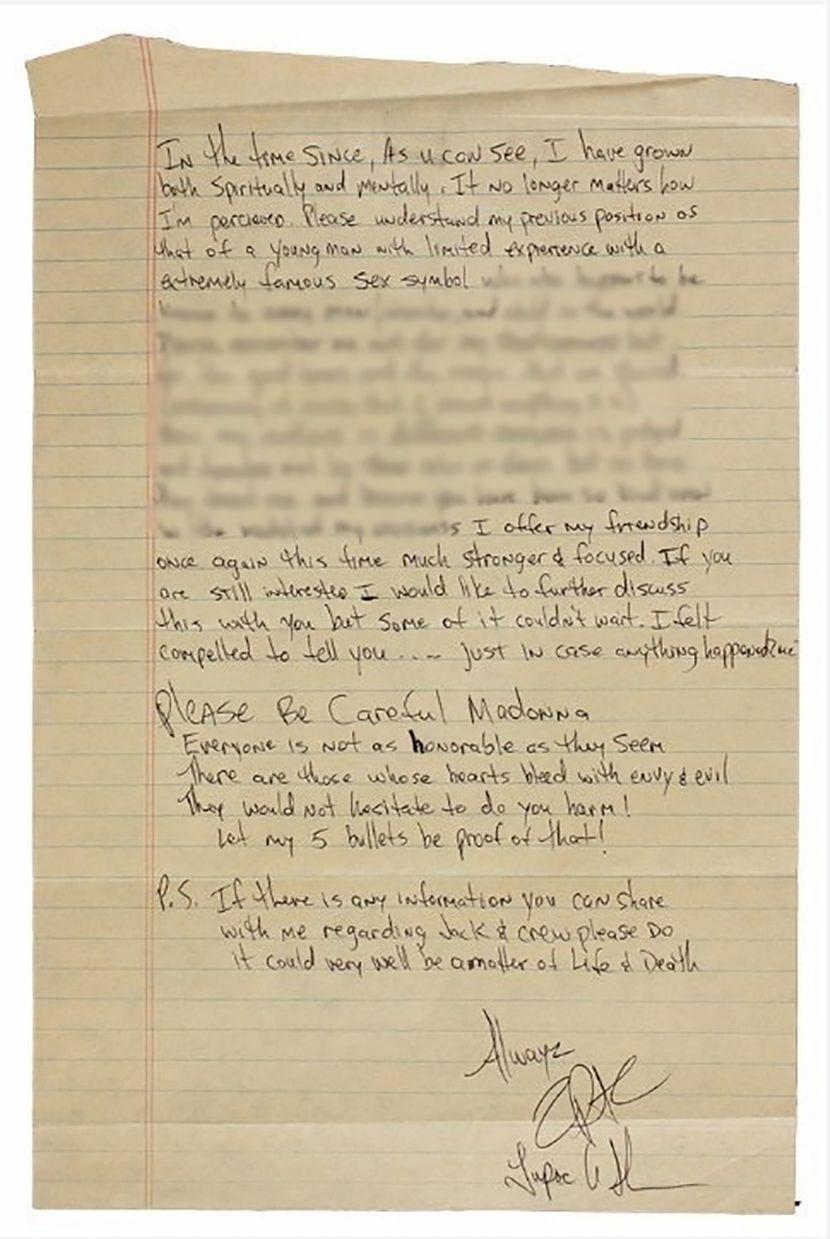 Tupak Šakur, Tupac Shakur, Madona pismo Madonna