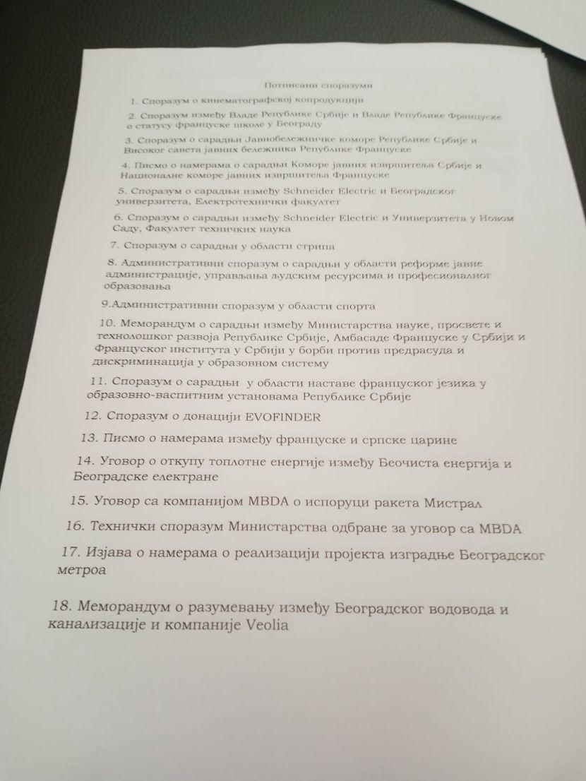 Potpisani sporazumi Srb Fra