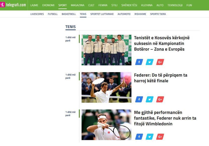 Telegrafi, Đoković, Federer, Vimbldon