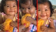 Beba probala mango i napravila najslađu facu (VIDEO)