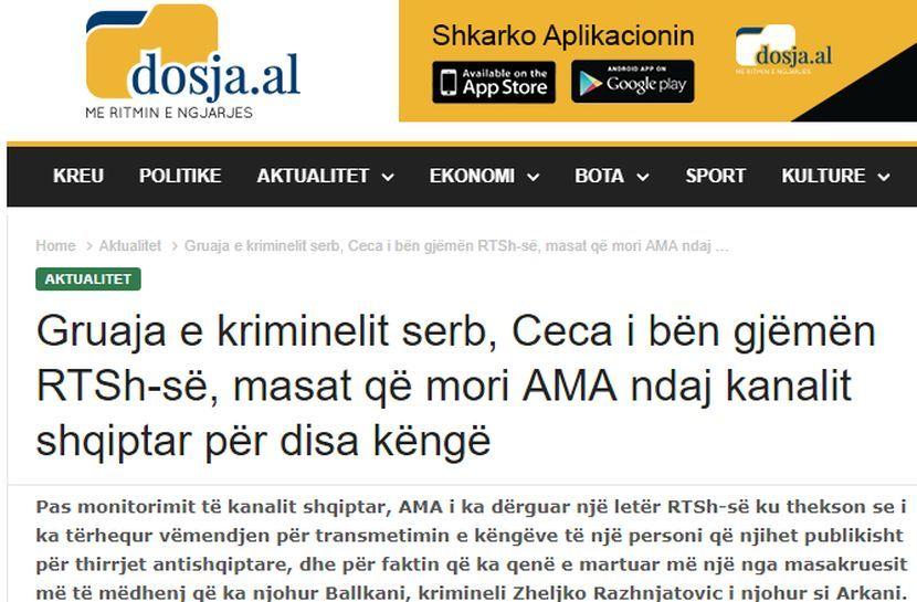 Ceca Arkan zabrana pesama Albanci
