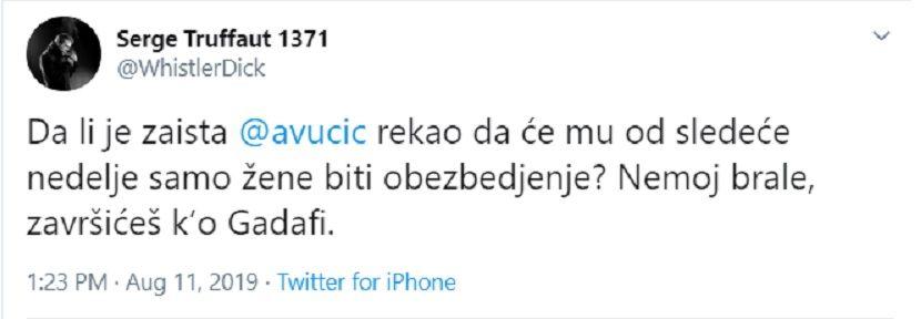Sergej Trifunović, Tviter, Aleksandar Vučić, pretnje