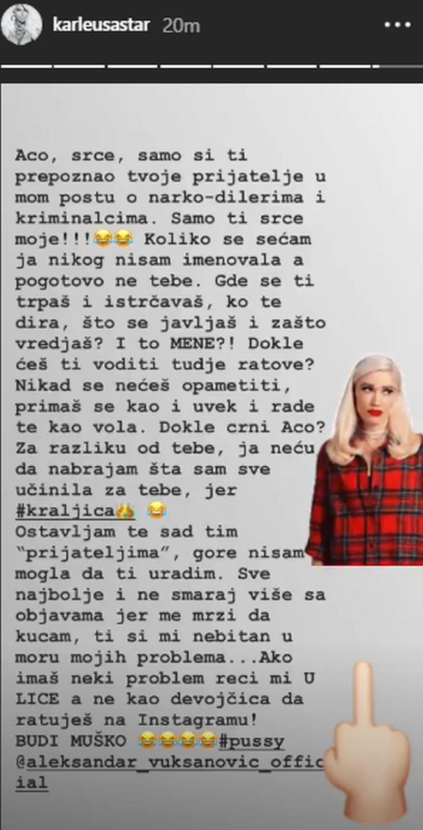 Jelena Karleuša, Aca Lukas, prepiska, svađa