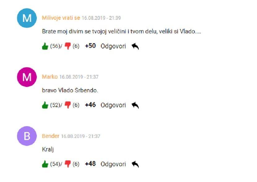 Komentari, Vlado Georgiev, Tamo daleko, podrška