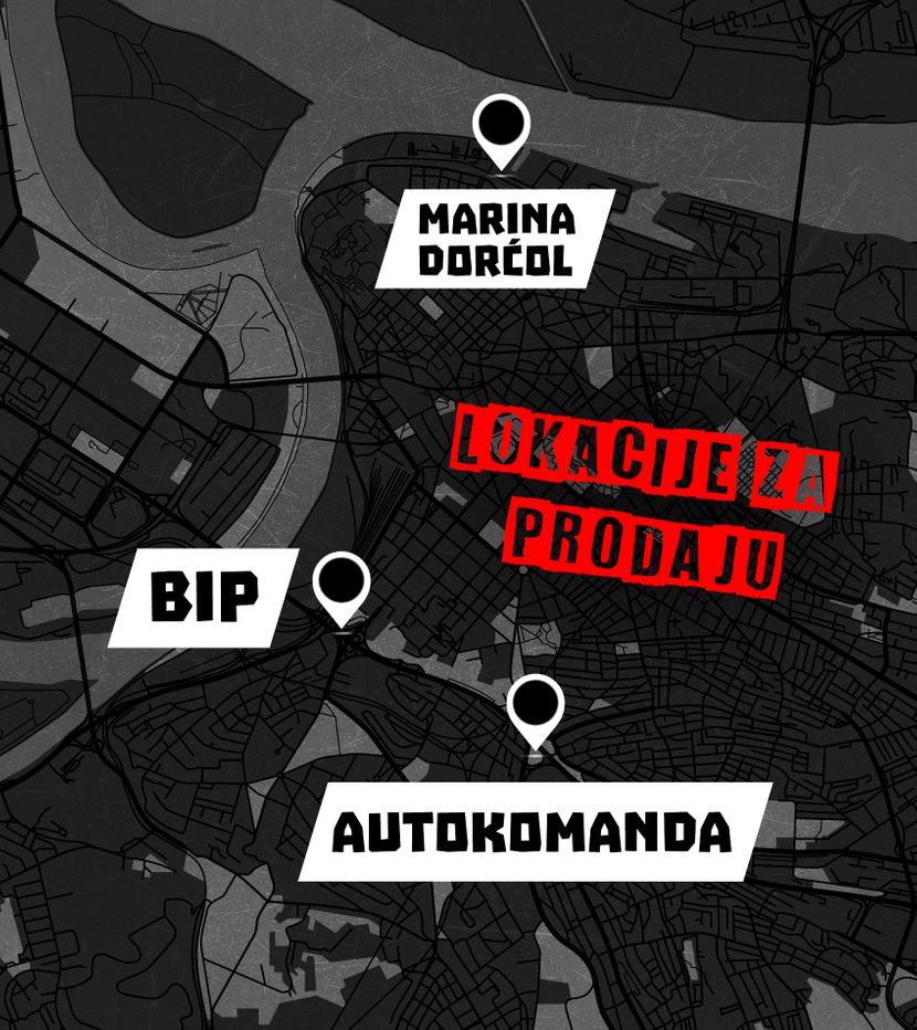 Lokacije za prodaju u Beogradu, mapa