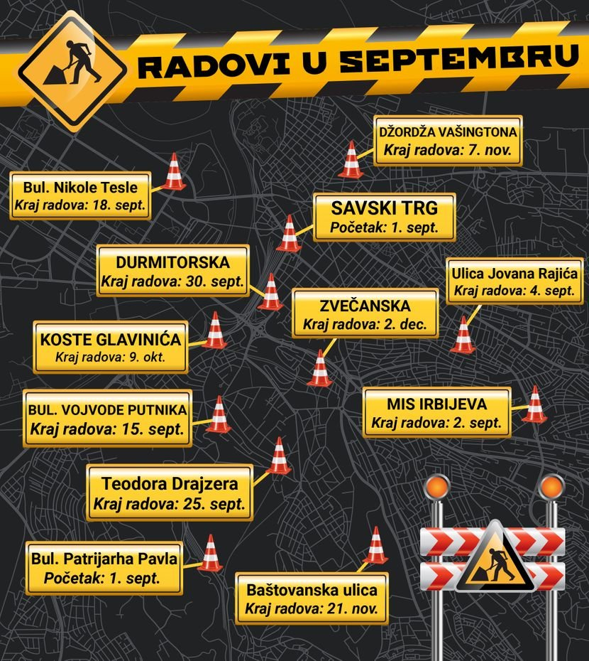 Vazno Mapa Zatvorenih Ulica U Septembru I Nove Trase Gsp A