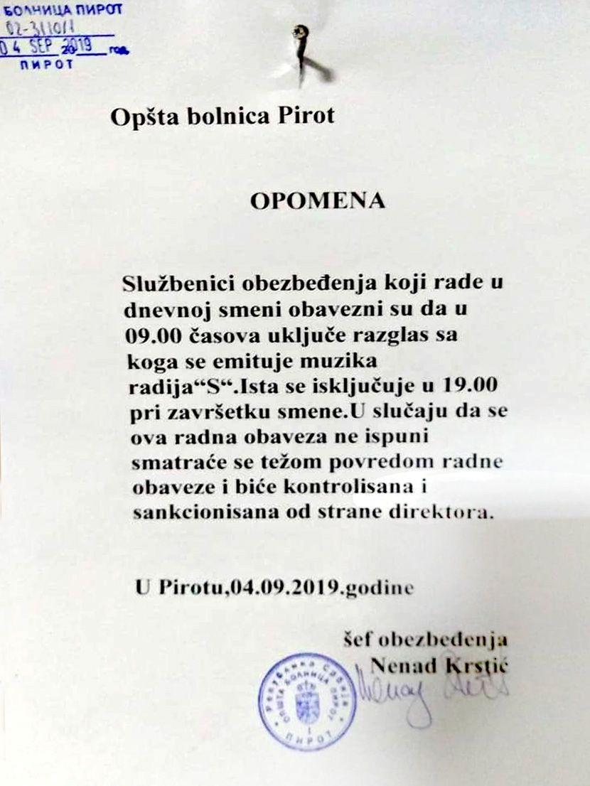 Obaveštenje, Opšta bolnica Pirot