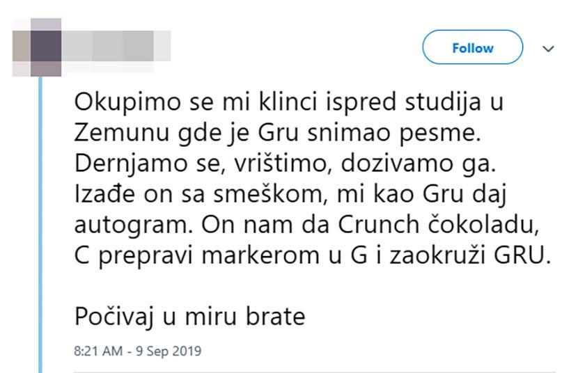 Gru, tviter status