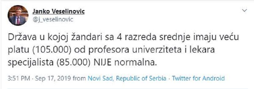 Janko Veselinović tvit