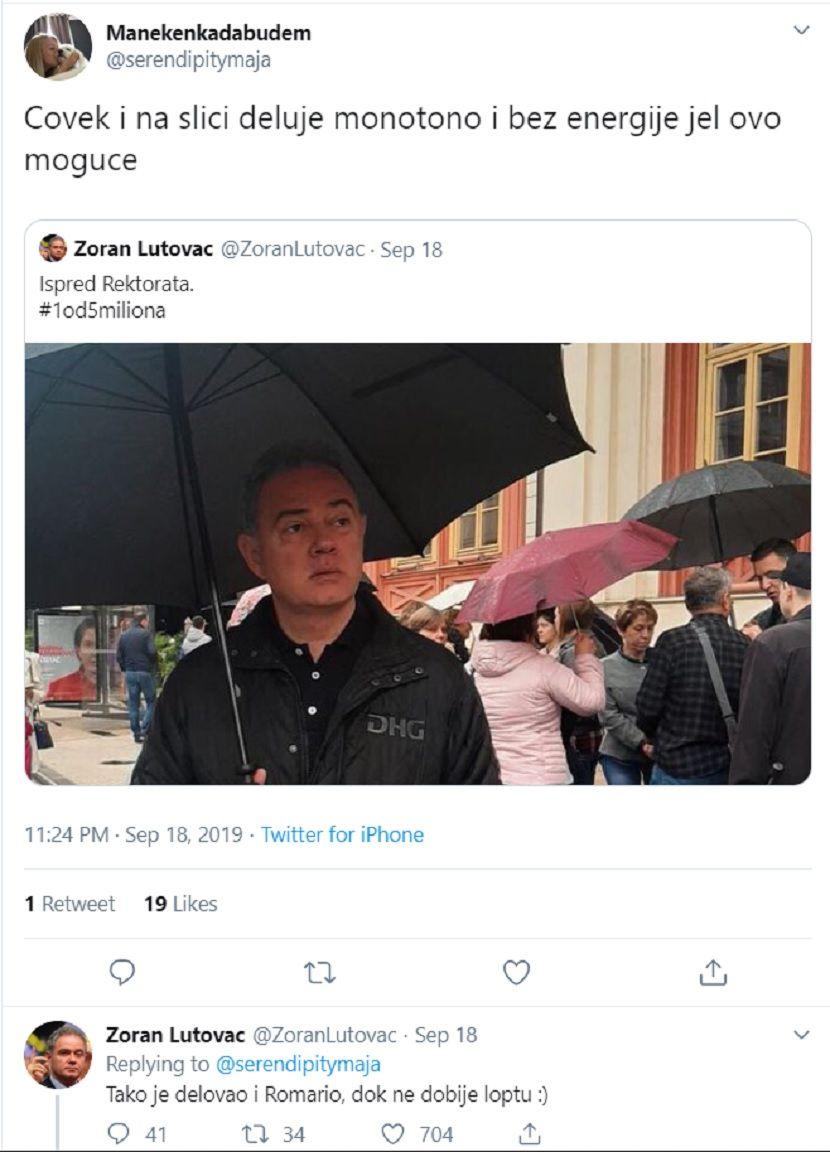 Zoran Lutovac, Demokratska stranka, Twitter