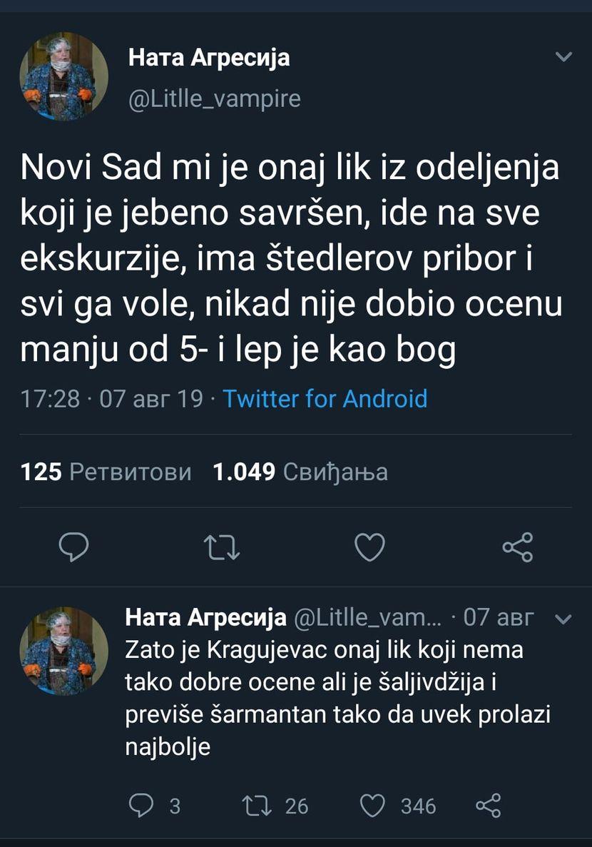 Srpski gradovi, učenici, škola, poređenje