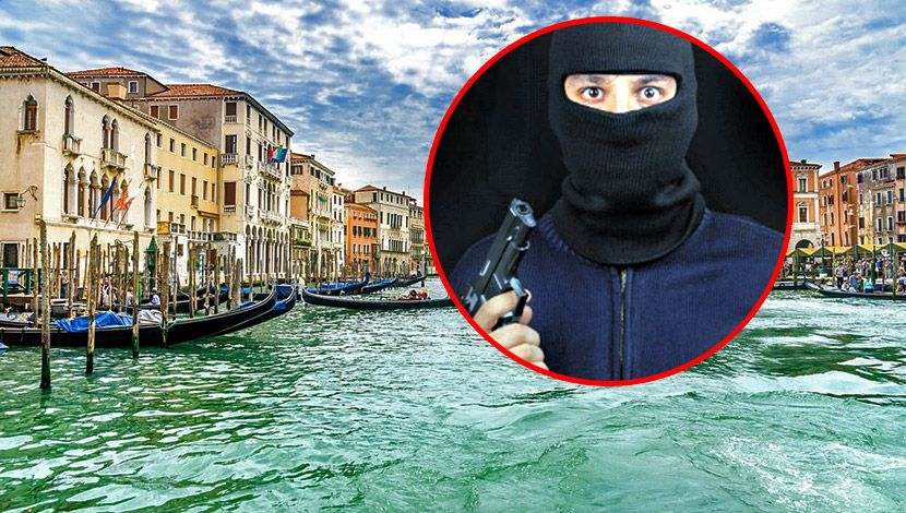 Venecija, Maskirani lopov sa pištoljem, kriminalac, maska, fantomka, pljačkaš, razbojnik, provalnik