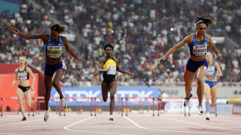 Dalila Muhamad i Sidnej Meklolin, 400m prepone svetski rekord 5, Doha 2019