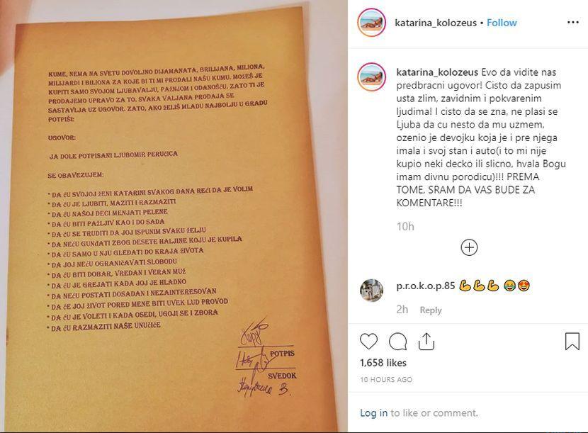 Ljuba Perucica, Katarina Kolozeus, predbračni ugovor