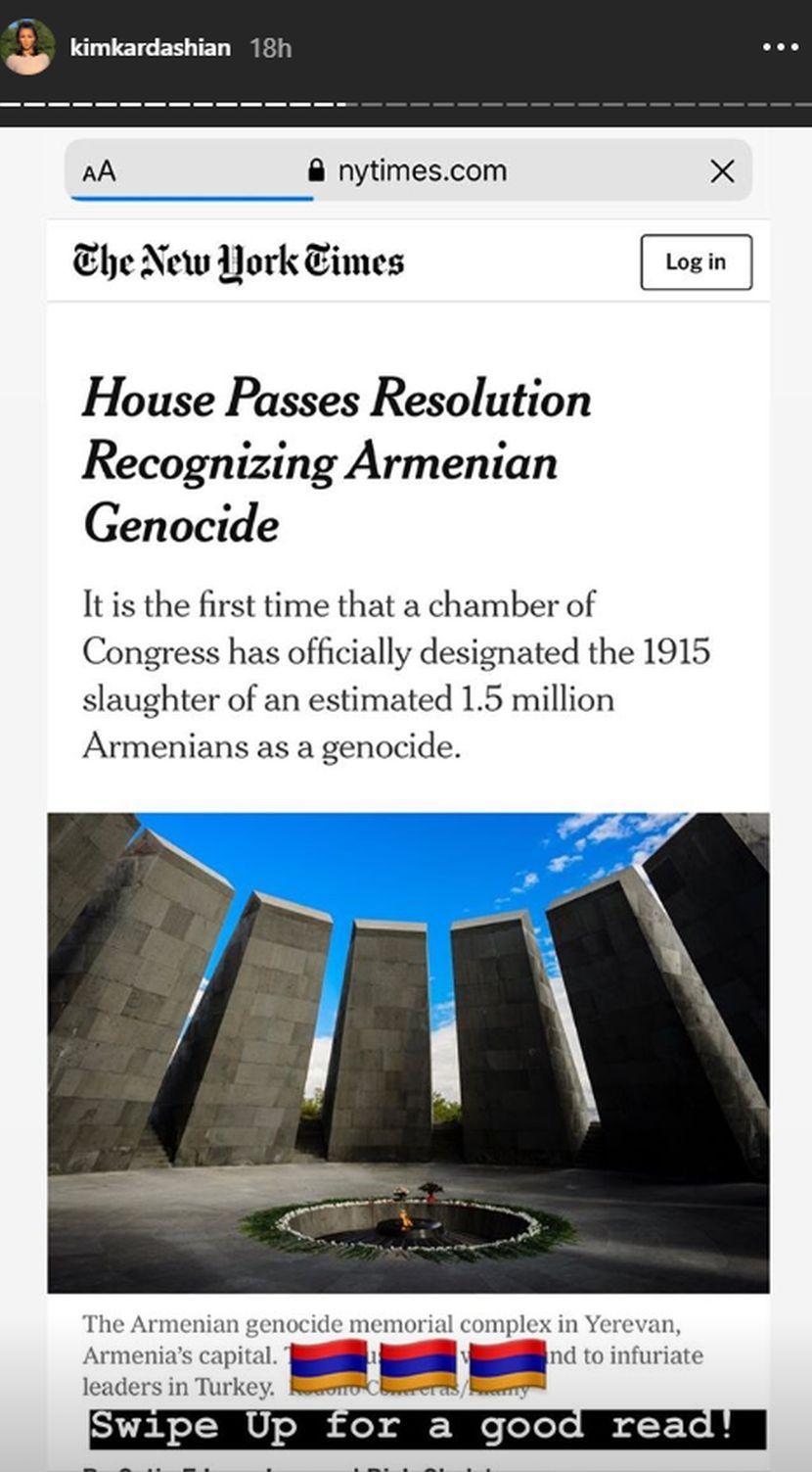 Kim Kardašijan, genocid, Jermenija