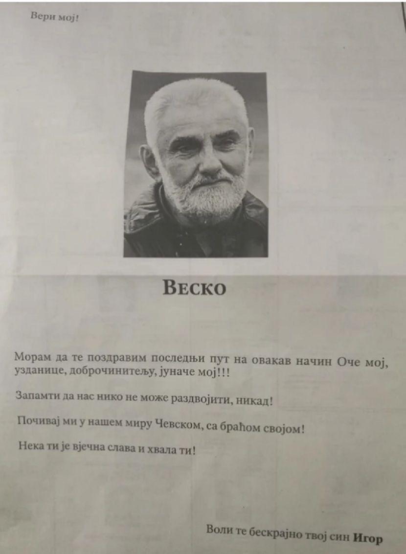 Vesko Vukotić, čitulja, sinovi