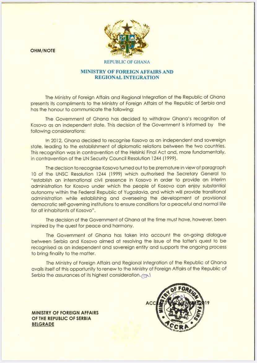 Zvanična nota kojom Gana povlači priznanje tzv. Kosova