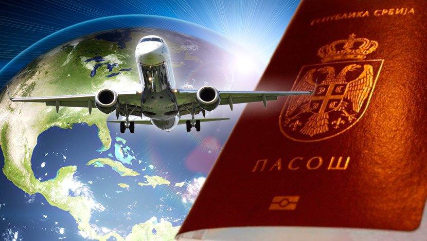 Srpski pasoš, avion, Srbija, svet