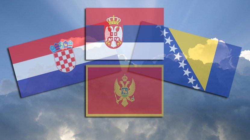 Srbija, Hrvatska, Crna Gora, Bosna, zastava, nebo