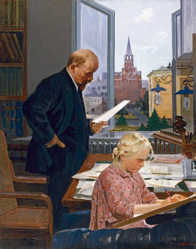 """Lenjin u Kremlju"", slika Nikolaja Baskakova iz 1960. godine, primer je socijalističkog realizma u slikarstvu. Foto: Wikimedia Commons/leningradschool.com"
