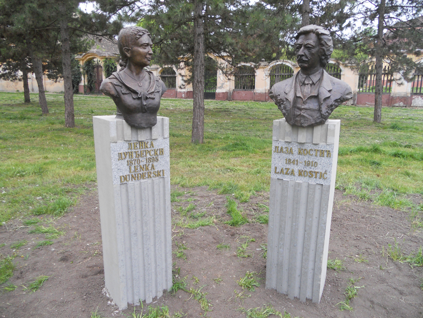 Spomenici u spomeničkom kompleksu u parku u Kulpinu Lenke Dunđerski i Laze Kostića Foto: Wikipedia/Vcesnak