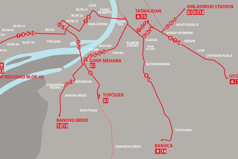 Ovako Izgleda Nova Mreza Tramvaja U Beogradu Linije 11 I 13 Idu
