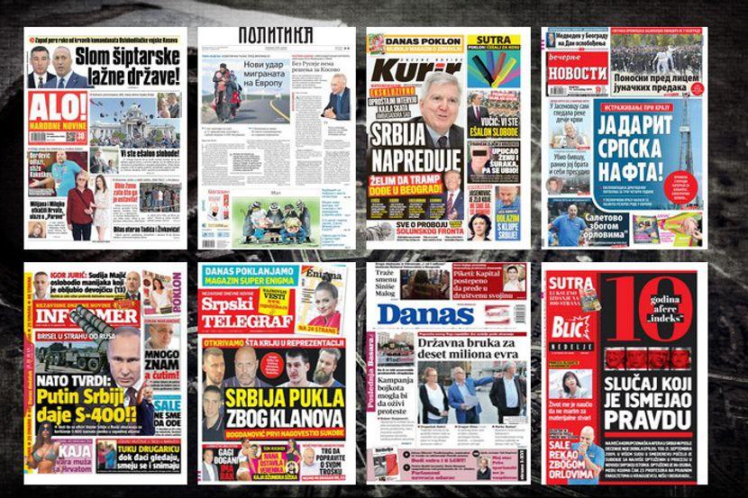 Naslovne Strane Današnjih Novina Prelistavanje štampe Za